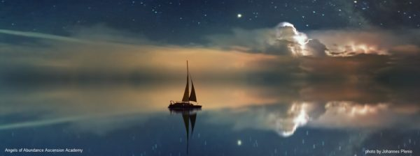 A sea of peace with a small sail boat reflecting a sunrise; restoring your soul