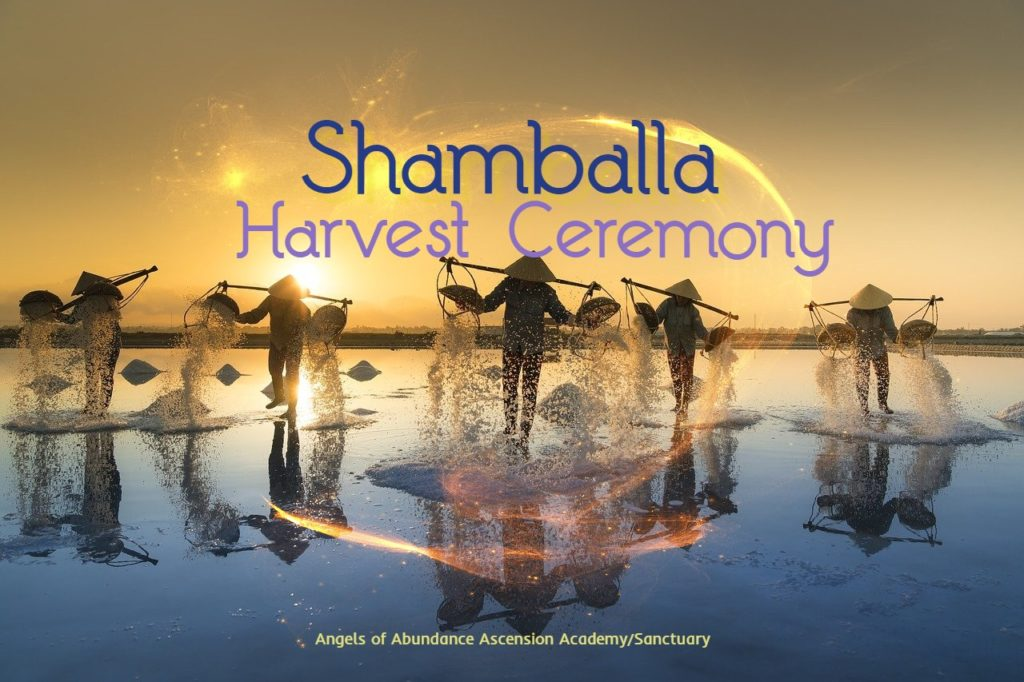 Shamballa Harvest Ceremony words over a picture of a salt harvest in Vietnam picture by Quang Nguyen