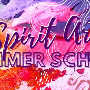 spirit art summer school graphically written over a splash of rainbow color