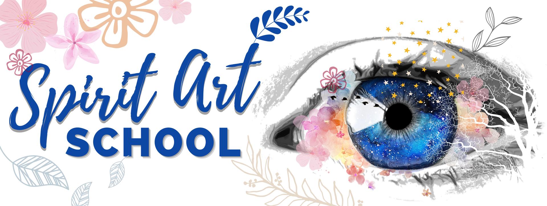 an eye with spirit art school and art design surrounding it